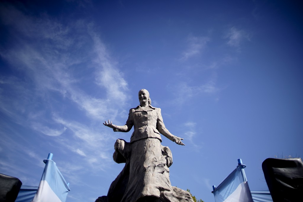 A statue of Eva Person stands in Los Toldos, Argentina, Monday, May 6, 2019. One day ahead of the 100th anniversary of Evita's birth, the home where O