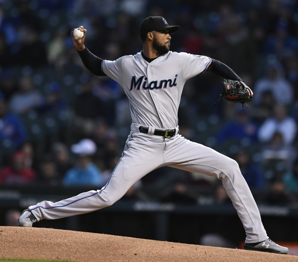 Miami Marlins starter Sandy Alcantara delivers a pitch during the first inning of a baseball game against the Chicago Cubs, Monday, May 6, 2019, in Ch...