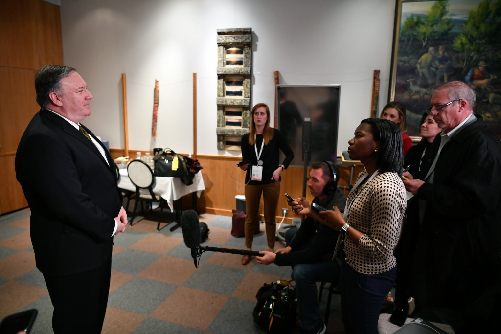 Secretary of State Mike Pompeo talks to the media on the sidelines of the Arctic Council ministers' working dinner at the Arktikum museum in Rovaniemi