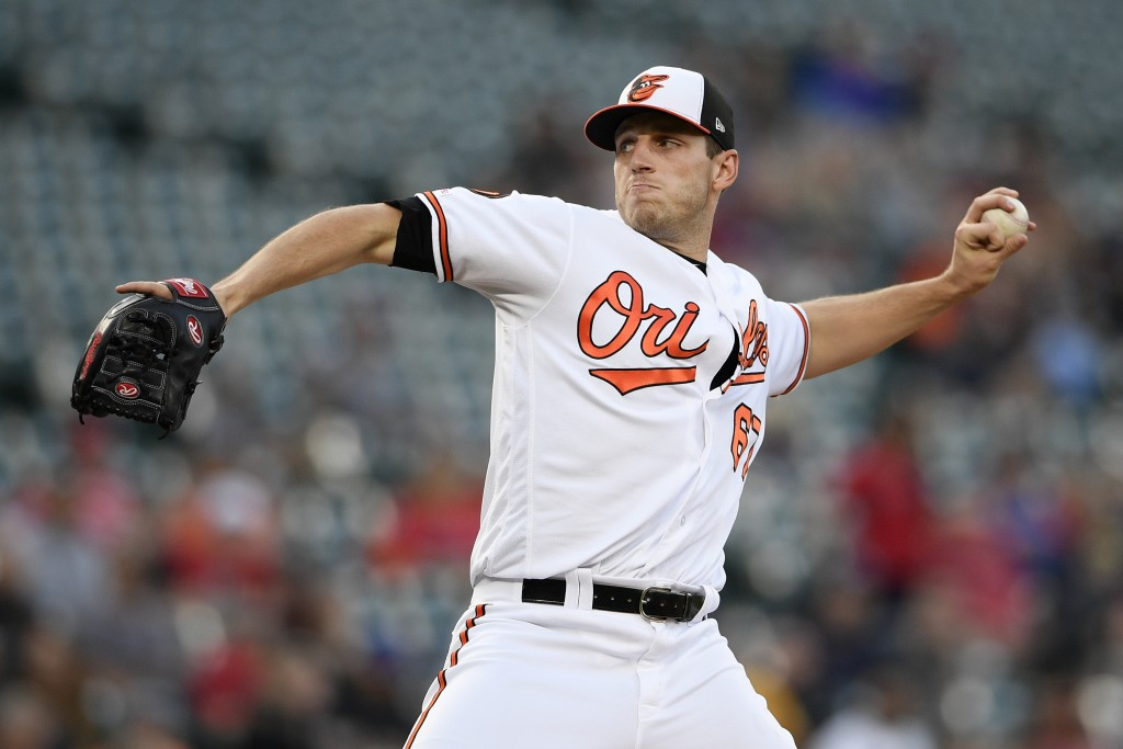Baltimore Orioles starting pitcher John Means delivers during the first inning of a baseball game against the Boston Red Sox, Monday, May 6, 2019, in ...