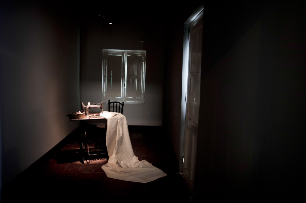 A sewing machine sits inside the home where Eva Peron was born and raised until she was age 11 in Los Toldos, Argentina, Monday, May 6, 2019. One day