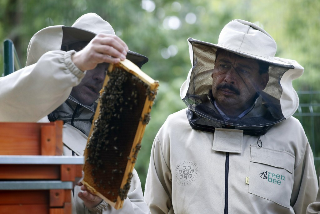 Hungarian President Janos Ader, right, wearing a beekeeper hat gets to know the biomonitoring system for bee life at the University of Sopron, where h