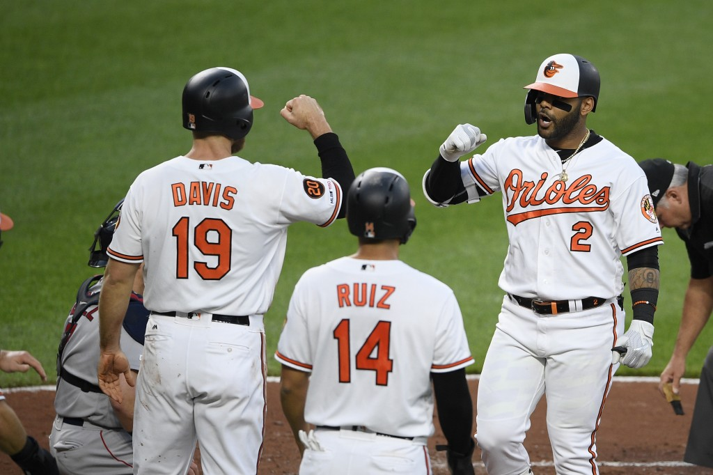 Baltimore Orioles' Jonathan Villar (2) celebrates his grand slam with Chris Davis (19) and Rio Ruiz (14) during the second inning of a baseball game a...