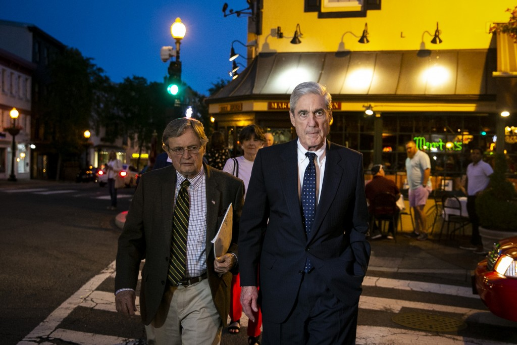 Special counsel Robert Mueller departs after having dinner at Martin's Tavern in Georgetown, Monday, May 6, 2019, in Washington. (AP Photo/Al Drago)