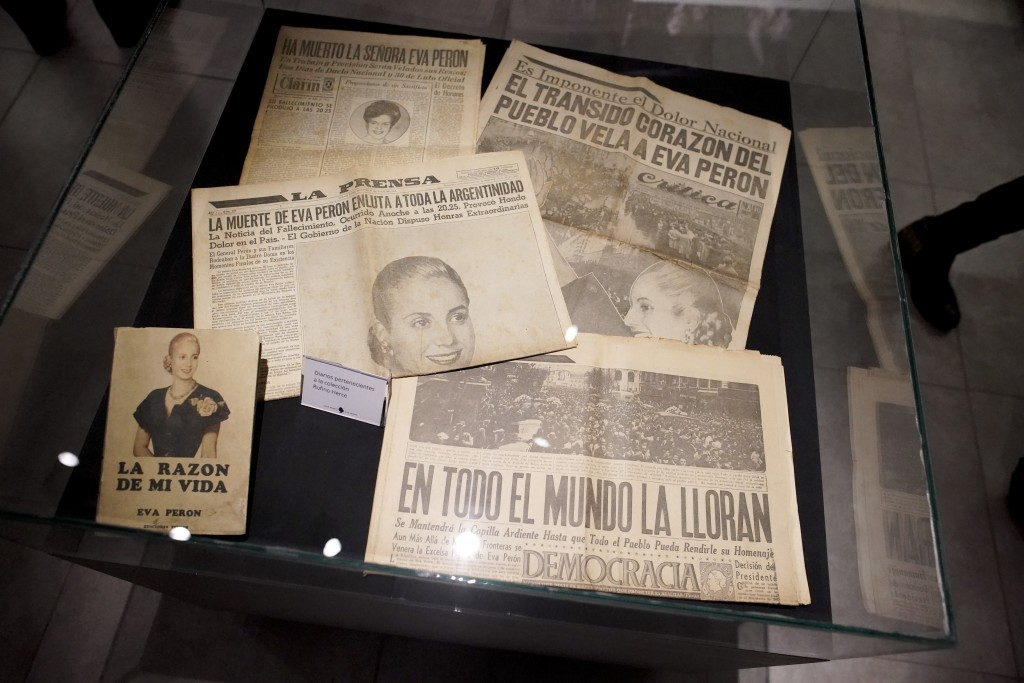 "Newspapers announcing the death of Eva Perón are displayed at her home-turned-museum named ""Casa Museo Eva Peron"" in Los Toldos, Argentina, Monday, Ma..."