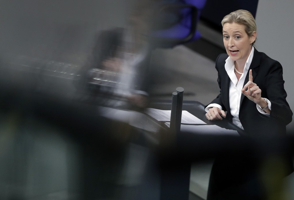 FILE-In this Nov. 21, 2018 file photo Alice Weidel, co-faction leader of the Alternative for Germany party, delivers a speech during the budget debate...