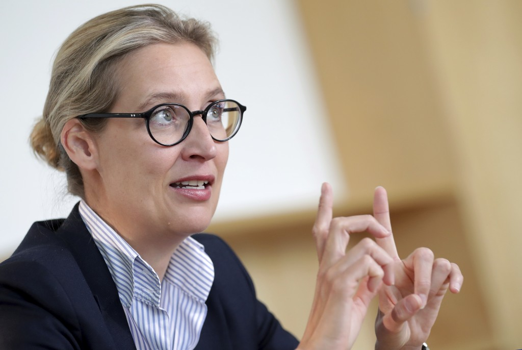 In this Tuesday, May 7, 2019 photo Alice Weidel, co-faction leader of the Alternative for Germany party (AfD) at the German federal parliament, Bundes...