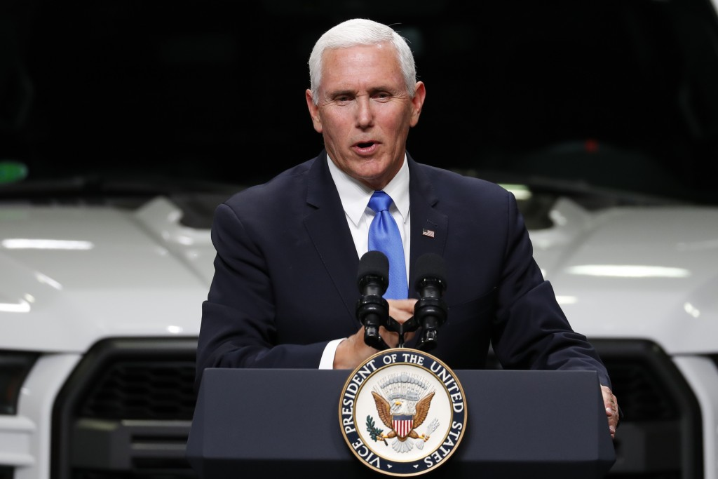 FILE - In this Wednesday, April 24, 2019 file photo, Vice President Mike Pence speaks at an auto industry discussion of the new United States-Mexico-C...