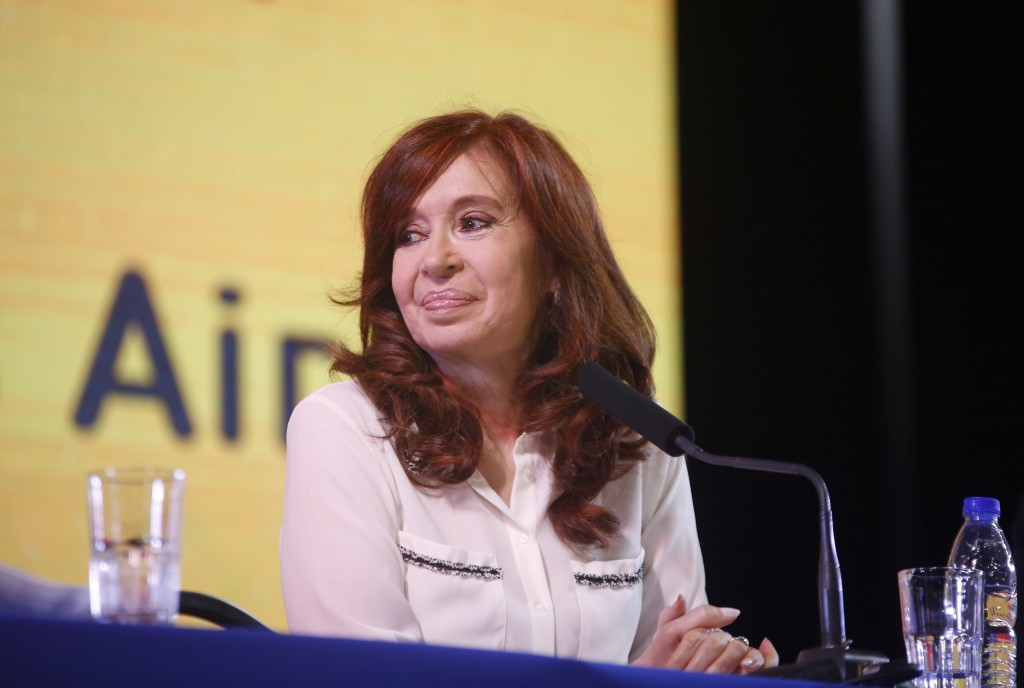 In this handout photo provided by the Unidad Ciudadana political party, former Argentine President Cristina Fernandez smiles as she officially present