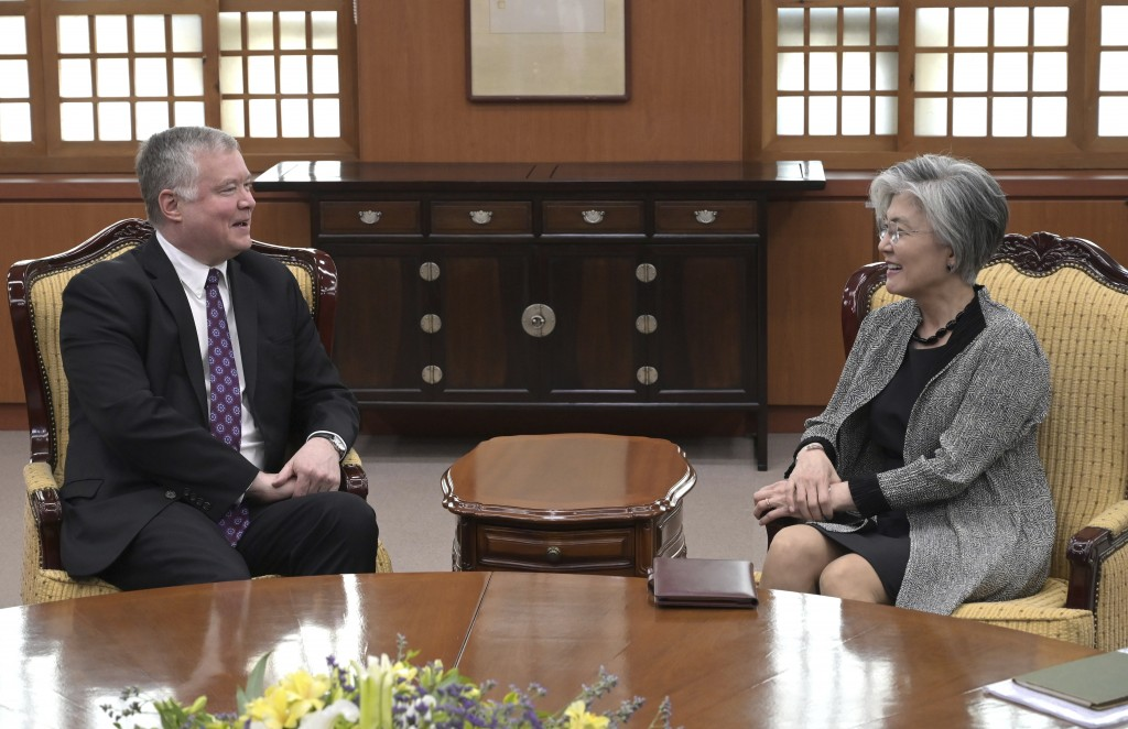 U.S. Special Representative for North Korea Stephen Biegun, left, talks with South Korea's Foreign Minister Kang Kyung-wha during their meeting at the...