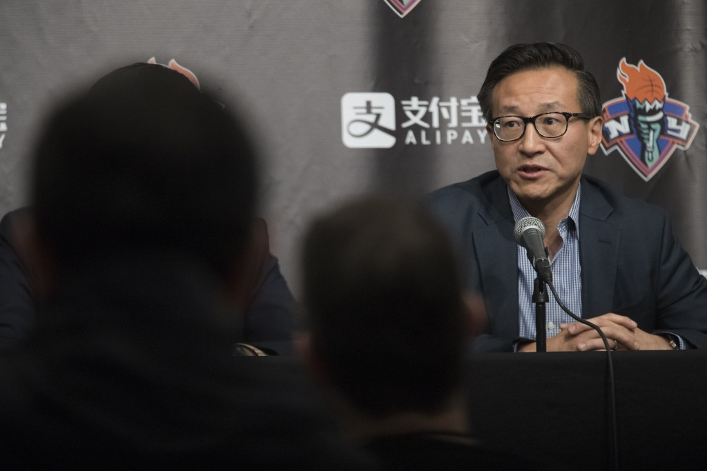 The New York Liberty's new owner, Joe Tsai, speaks during a news conference before a WNBA exhibition basketball game between the Liberty and China, Th...