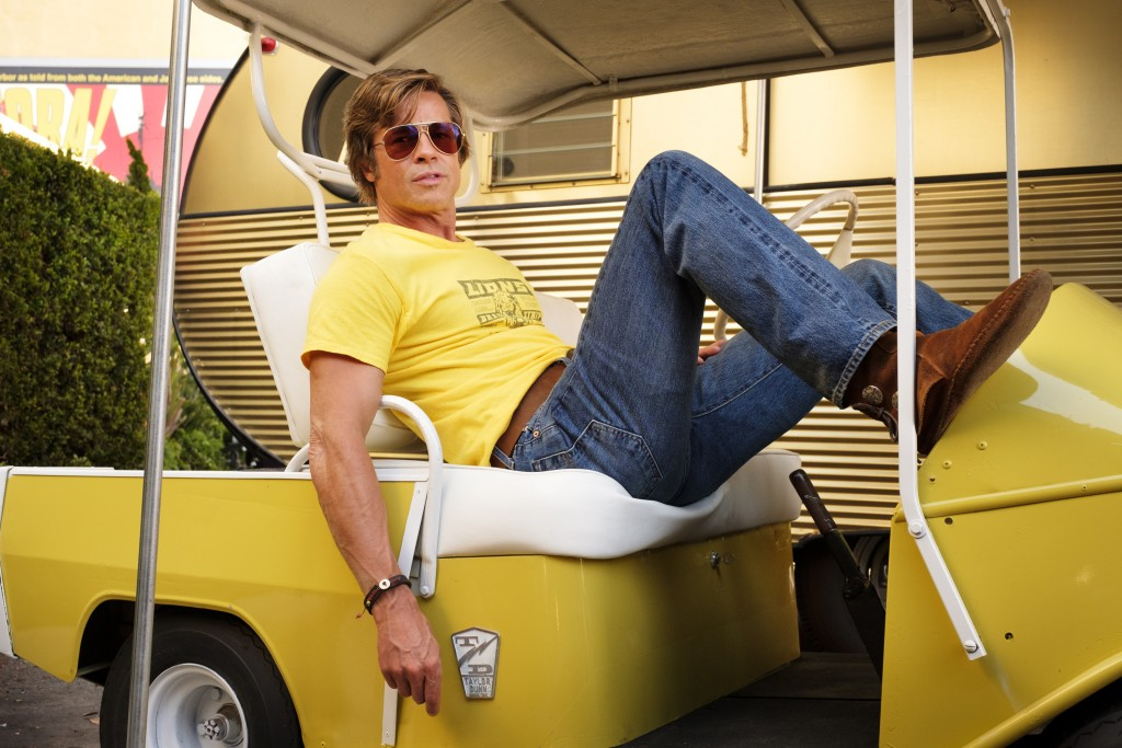 """This image released by Sony Pictures shows Brad Pitt in Quentin Tarantino's """"Once Upon a Time in Hollywood."""" The film will premiere in competition at"""