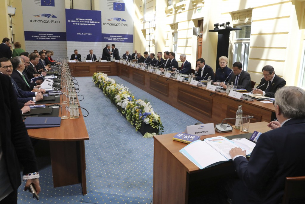 European Union heads of state attend a round table meeting at an EU summit in Sibiu, Romania, Thursday, May 9, 2019. European Union leaders on Thursda