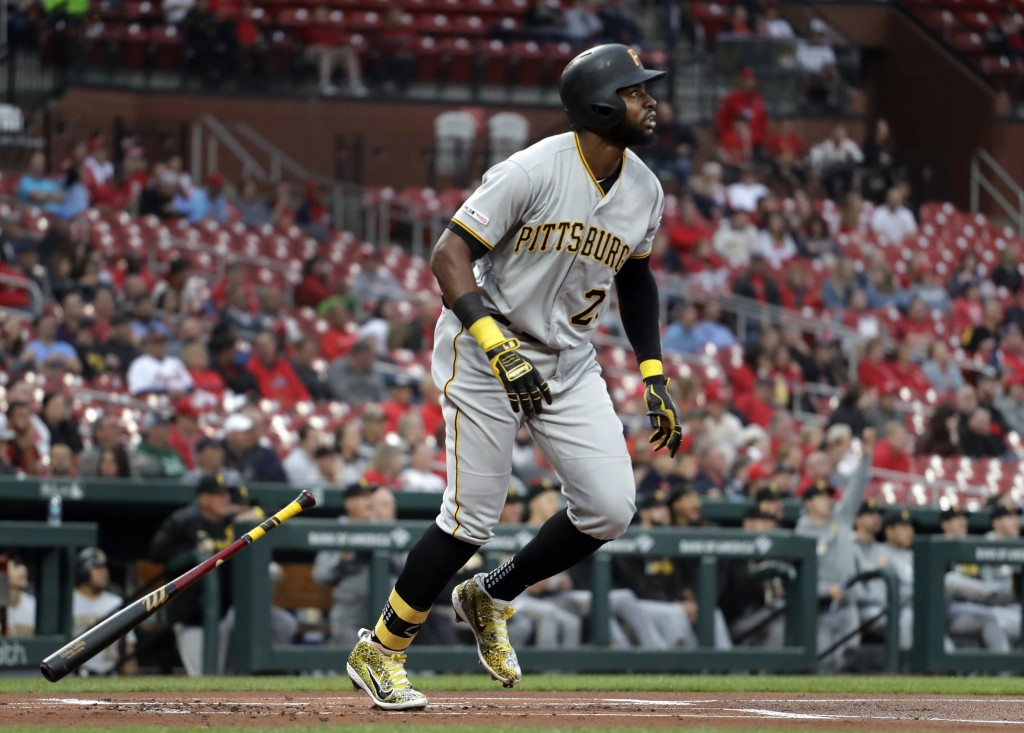 Pittsburgh Pirates' Gregory Polanco watches his solo home run during the first inning of the team's baseball game against the St. Louis Cardinals on T...