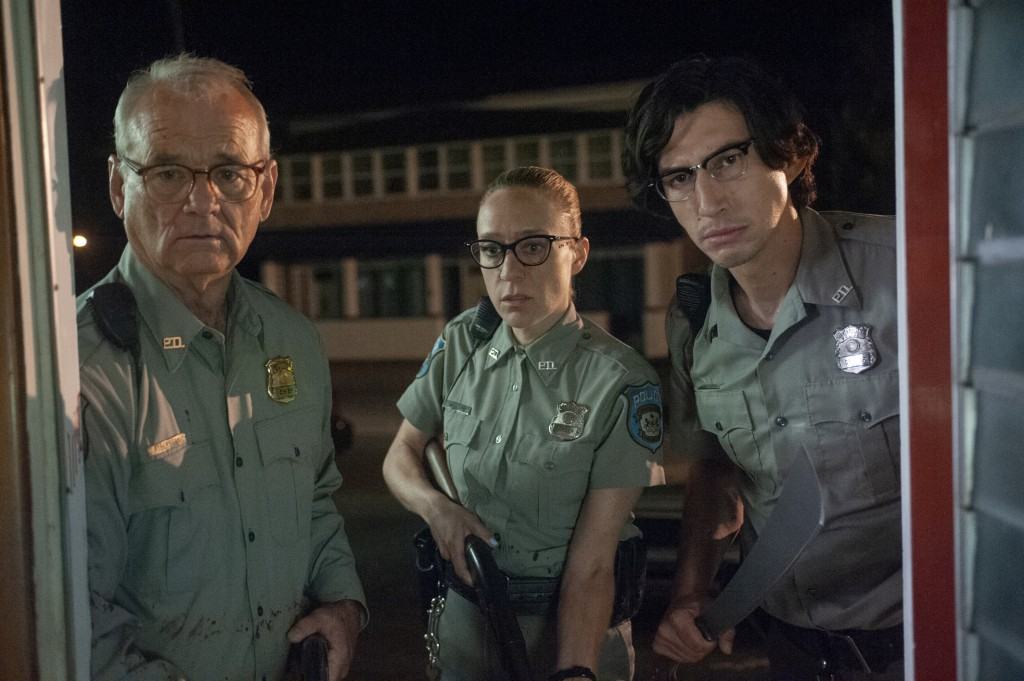 """This image released by Focus Features shows, from left, Bill Murray Chloë Sevigny and Adam Driver in a scene from """"The Dead Don't Die,"""" which will be"""