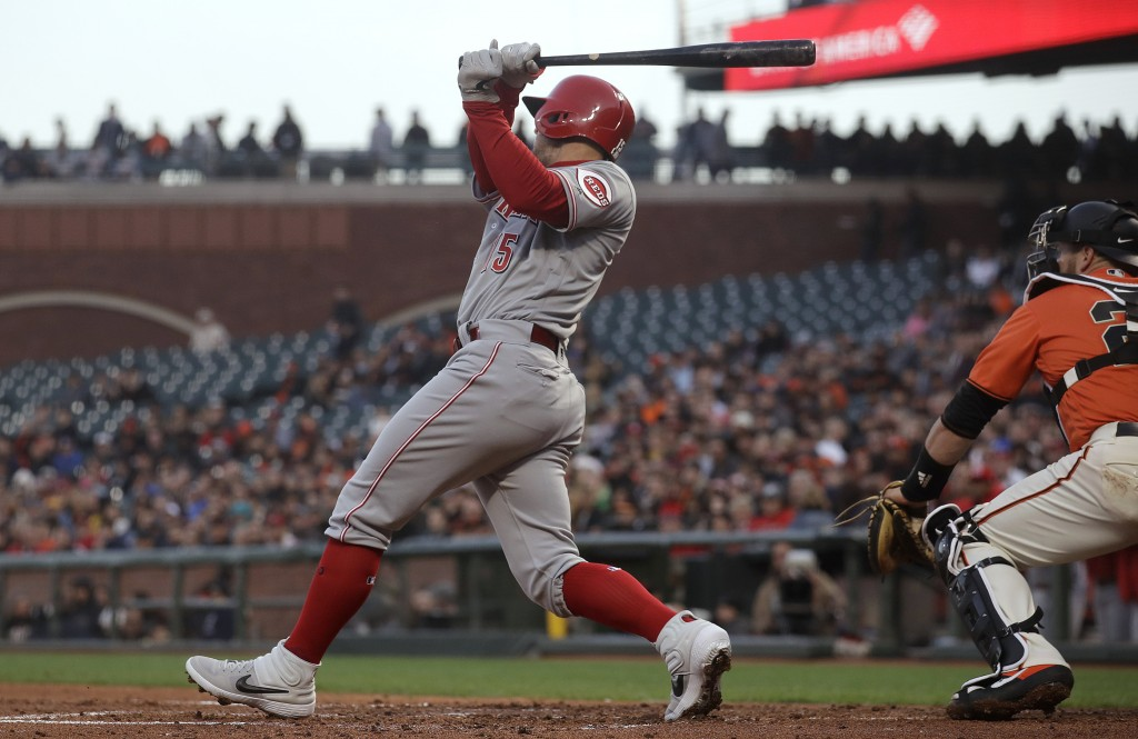 Cincinnati Reds' Nick Senzel follows through on a two-run triple against the San Francisco Giants during the second inning of a baseball game in San F