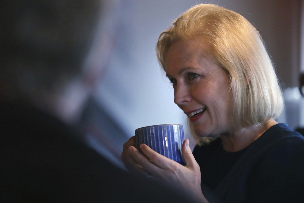 Democratic presidential candidate Sen. Kirsten Gillibrand, D-N.Y., listens to a question during a campaign stop at a coffee shop in Derry, N.H., Frida