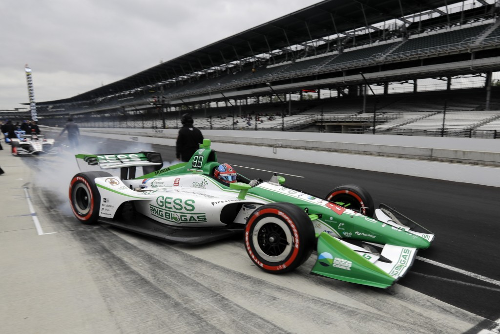 Colton Herta pulls out of the pits during practice for the Indy GP IndyCar auto race at Indianapolis Motor Speedway, Friday, May 10, 2019 in Indianapo...