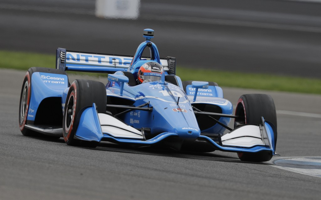 Felix Rosenqvist, of Sweden, steers his car during qualifications for the Indy GP IndyCar auto race at Indianapolis Motor Speedway, Friday, May 10, 20...