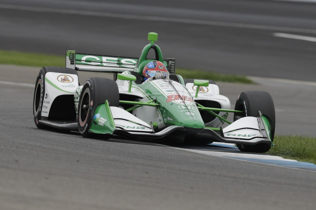 Colton Herta steers his car during qualifications for the Indy GP IndyCar auto race at Indianapolis Motor Speedway, Friday, May 10, 2019 in Indianapol...