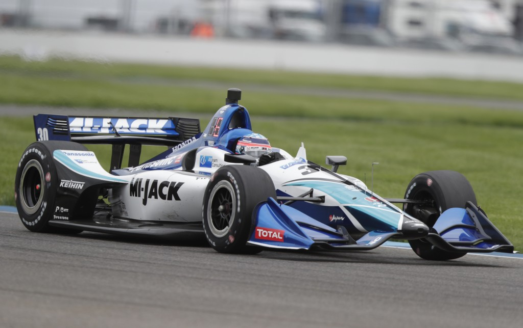 Takuma Sato, of Japan, drives during practice for the Indy GP IndyCar auto race at Indianapolis Motor Speedway, Friday, May 10, 2019 in Indianapolis. ...