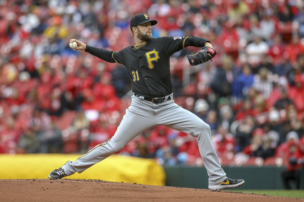 Pittsburgh Pirates starting pitcher Jordan Lyles throws during the first inning of a baseball game against the St. Louis Cardinals, Saturday, May 11, ...