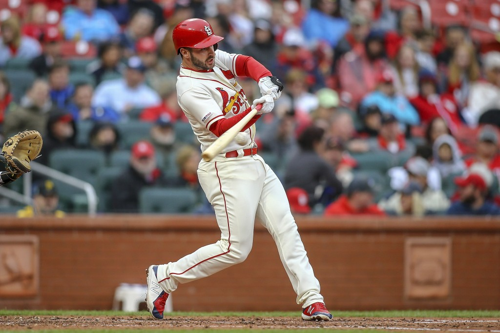 St. Louis Cardinals' Paul DeJong hits a RBI double during the third inning of a baseball game against the Pittsburgh Pirates, Saturday, May 11, 2019, ...