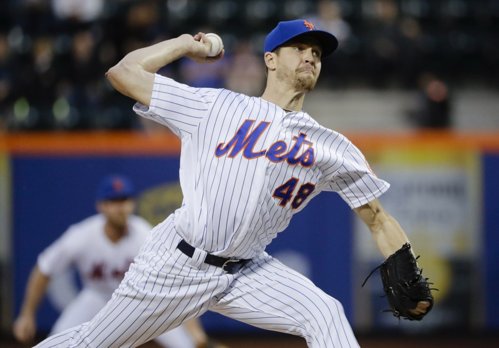New York Mets' Jacob deGrom delivers a pitch during the first inning of the team's baseball game against the Miami Marlins on Saturday, May 11, 2019, ...