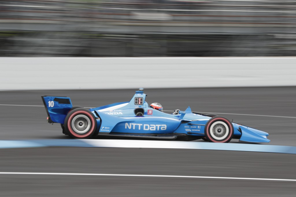 Felix Rosenqvist, of Sweden, drives through the first turn during the Indy GP IndyCar auto race at Indianapolis Motor Speedway, Saturday, May 11, 2019