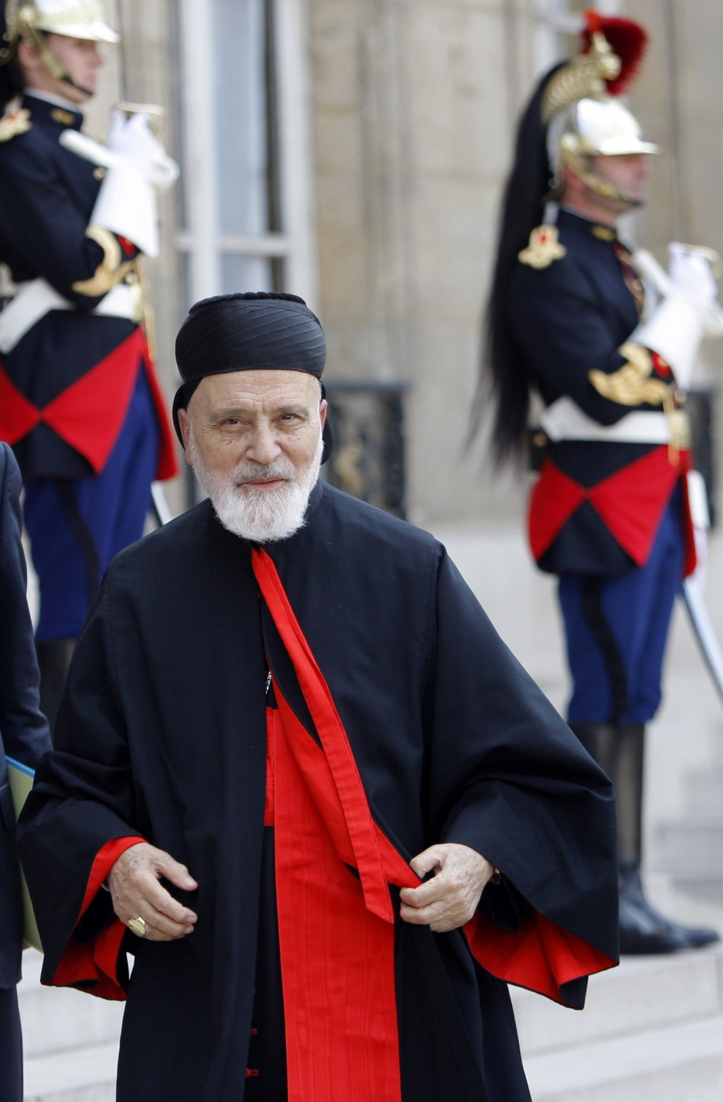 FILE - In this June 16, 2010 file photo, Cardinal Nasrallah Butros Sfeir, head of Lebanon's Maronite Church, arrives for a meeting with French Preside...