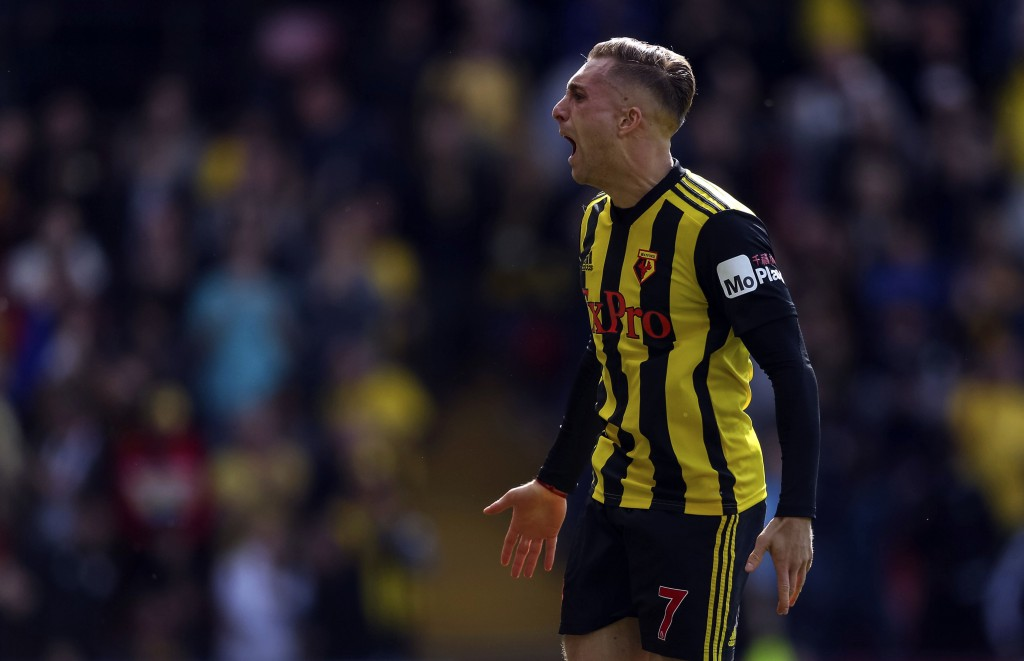 Watford's Gerard Delofeu celebrates scoring their first goal during their English Premier League soccer match against West Ham United at Vicarage Road