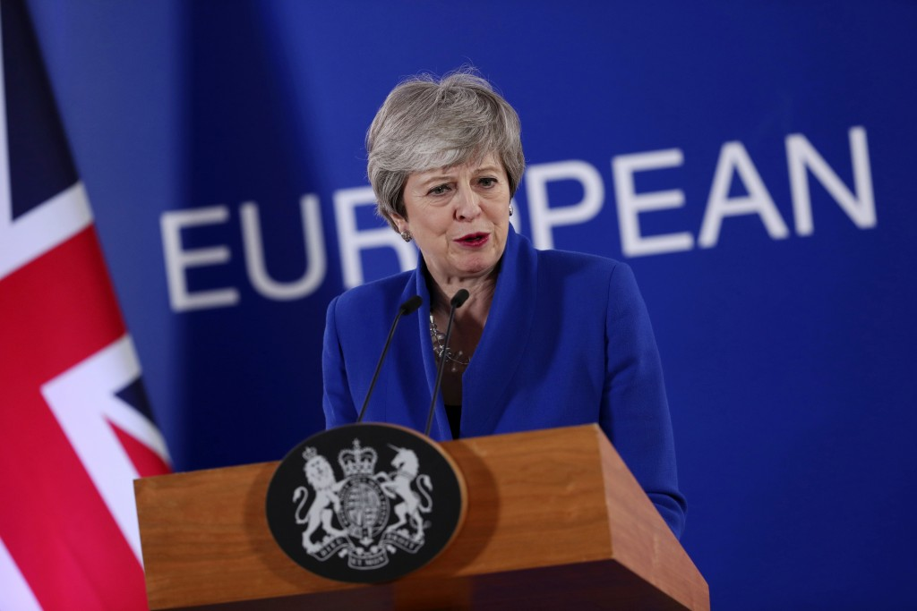 FILE - In this Thursday, April 11, 2019 file photo, British Prime Minister Theresa May speaks during a media conference at the conclusion of an EU sum...