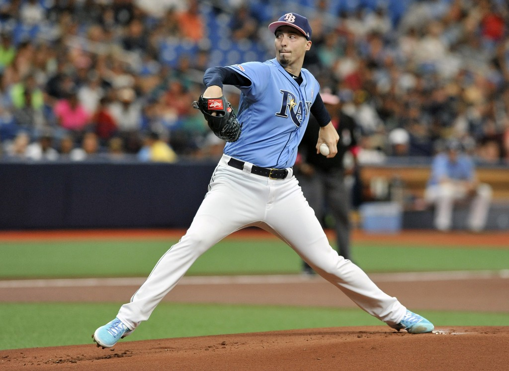 Tampa Bay Rays starter Blake Snell pitches against the New York Yankees during the first inning of a baseball game Sunday, May 12, 2019, in St. Peters...