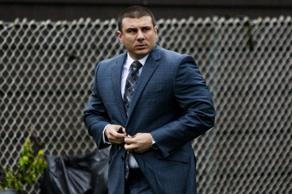 New York City police officer Daniel Pantaleo leaves his house Monday, May 13, 2019, in Staten Island, N.Y. A long-delayed disciplinary trial began Mon