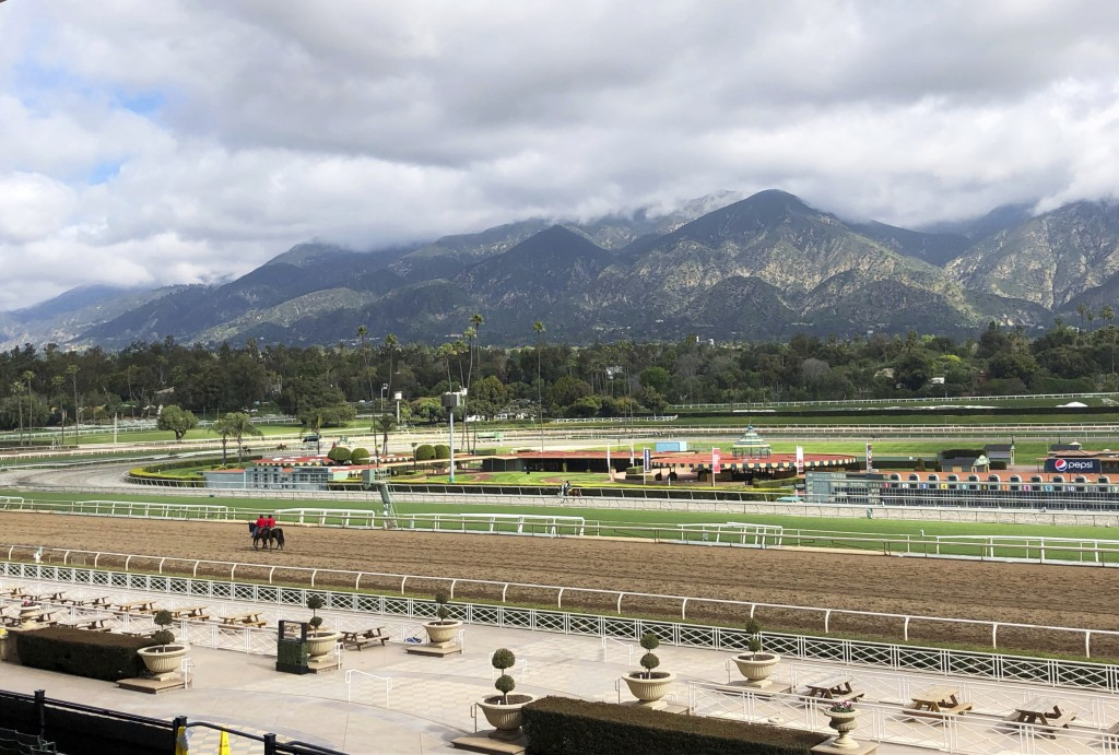 FILE - In this Thursday, March 28, 2019, file photo, a few horses and riders are seen on the track while members of the California Horse Racing Board