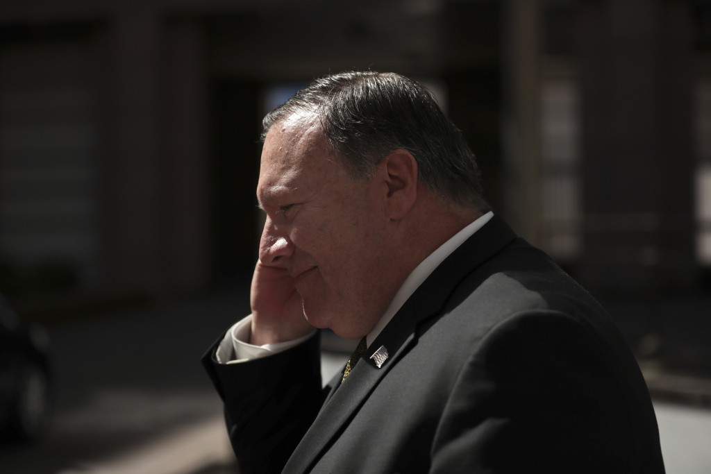U.S. Secretary of State Mike Pompeo leaves after a meeting at the Europa building in Brussels, Monday, May 13, 2019. (AP Photo/Francisco Seco)