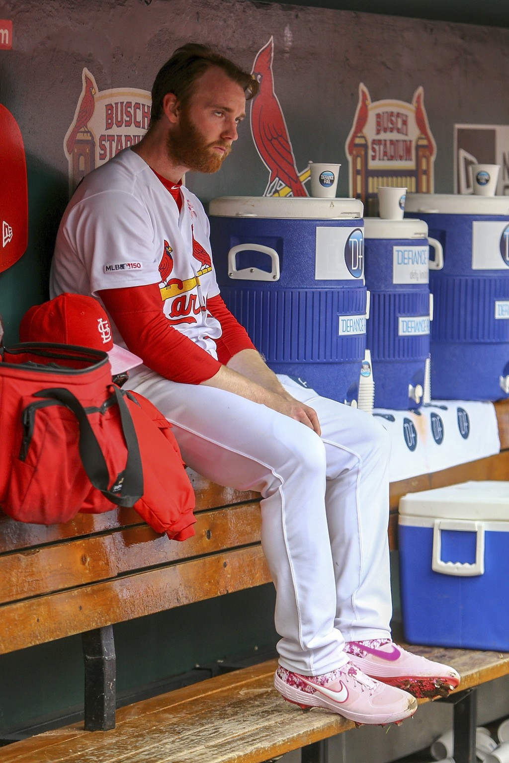 St. Louis Cardinals relief pitcher John Brebbia sits in the dugout during the seventh inning of a baseball game against the Pittsburgh Pirates, Sunday