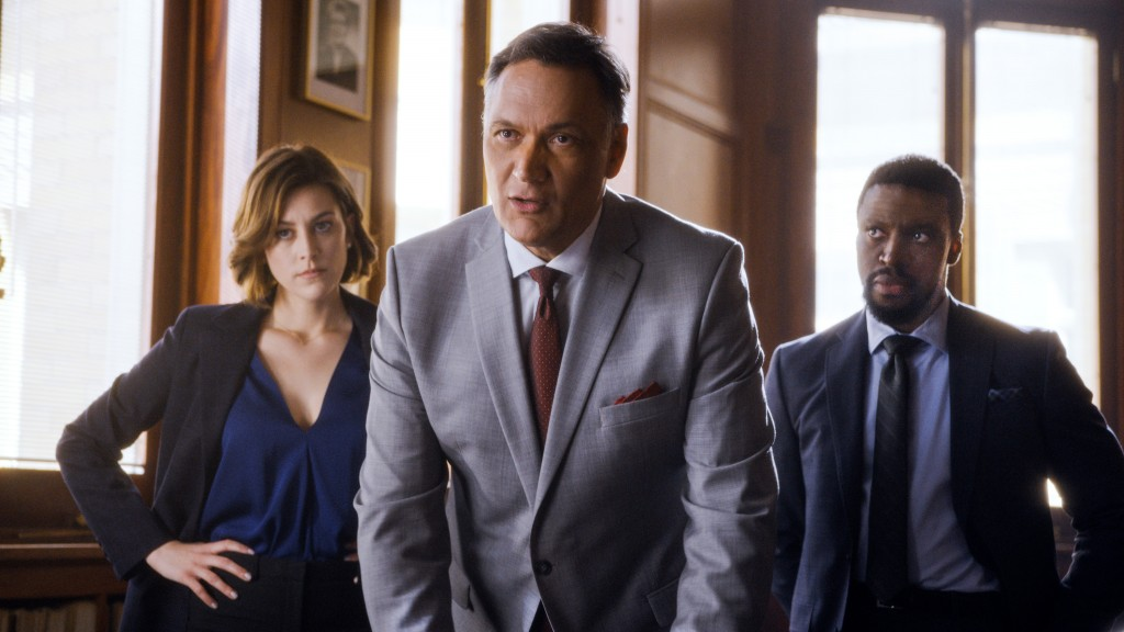 "This image released by NBC shows, from left, Caitlin McGee, Jimmy Smits and Michael Luwoye in a scene from ""Bluff City Law."" Four new NBC dramas are s"