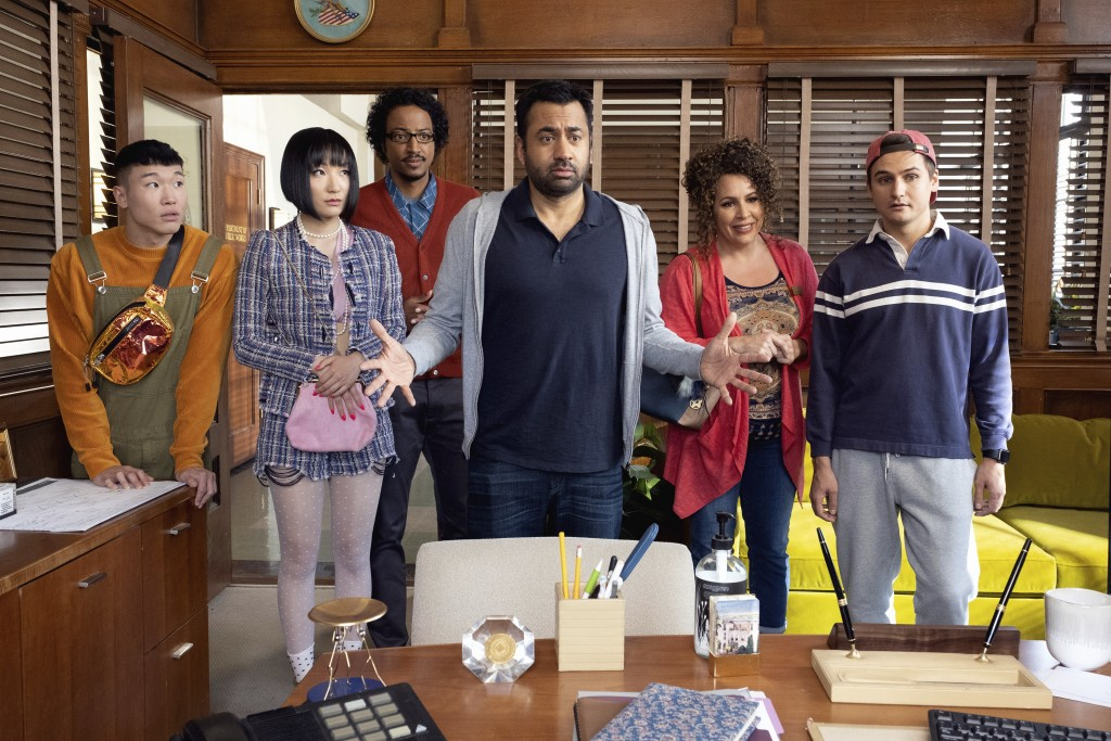 "This image released by NBC shows, from left, Joel Kim Booster, Poppy Liu, Samba Schutte, Kal Penn, Diana Marie Riva and Moses Storm in a scene from ""S"