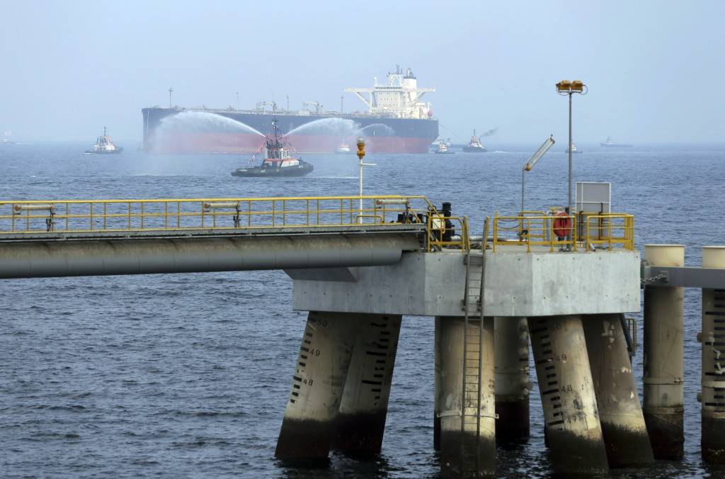 FILE - In this Sept. 21, 2016 file photo, an oil tanker approaches to the new Jetty during the launch of the new $650 million oil facility in Fujairah...