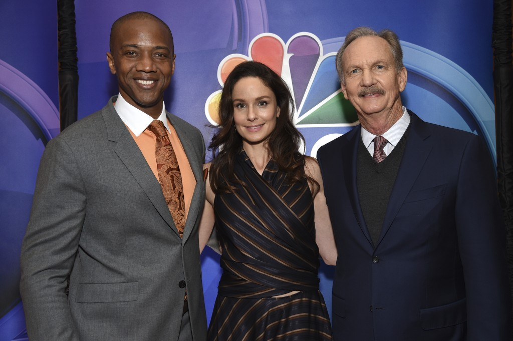 """J. August Richards, from left, Sarah Wayne Callies and Michael O'Neill, from the cast of """"Council of Dads,"""" attend the NBC 2019/2020 Upfront at The Fo..."""
