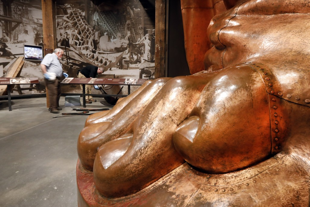 A full-scale model of the Statue of Liberty's foot is among the artifacts displayed in the new Statue of Liberty Museum, on Liberty Island, in New Yor...
