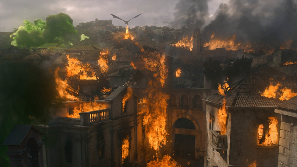 "This image released by HBO shows a scene from ""Game of Thrones,"" that aired Sunday, May 12, 2019. Daenerys has reduced King's Landing to ashes in a dr"