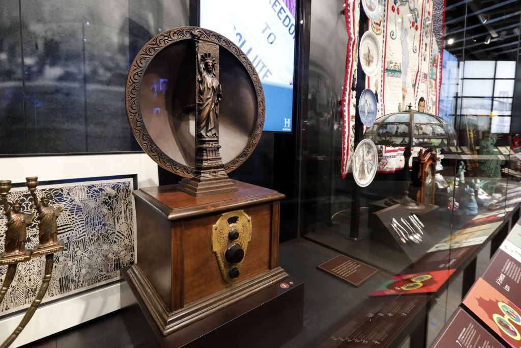 A 1920's Mohawk one-dial radio and speaker is among the artifacts displayed in the new Statue of Liberty Museum, on Liberty Island, in New York, Monda...