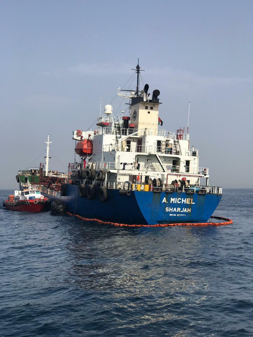 This photo provided by the United Arab Emirates' National Media Council shows the Emirati-flagged bunkering tanker A. Michel off the coast of Fujairah