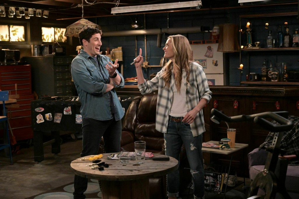This image provided by Fox Broadcasting Co. on Monday, May 13, 2019, shows Jason Biggs and Maggie Lawson in a scene from the network's upcoming comedy