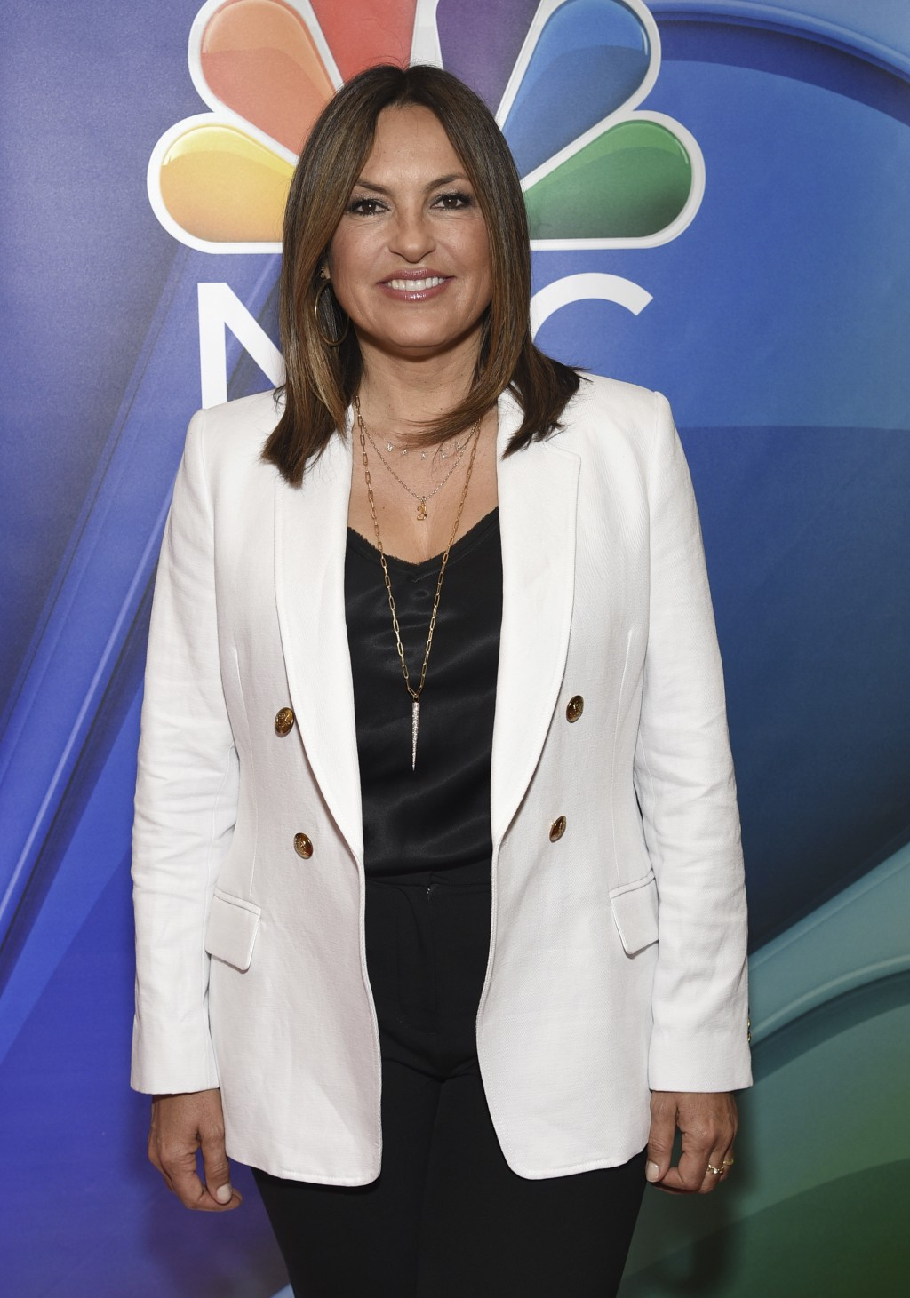"""Mariska Hargitay, from the cast of """"Law & Order: Special Victims Unit,"""" attends the NBC 2019/2020 Upfront at The Four Seasons New York on Monday, May ..."""