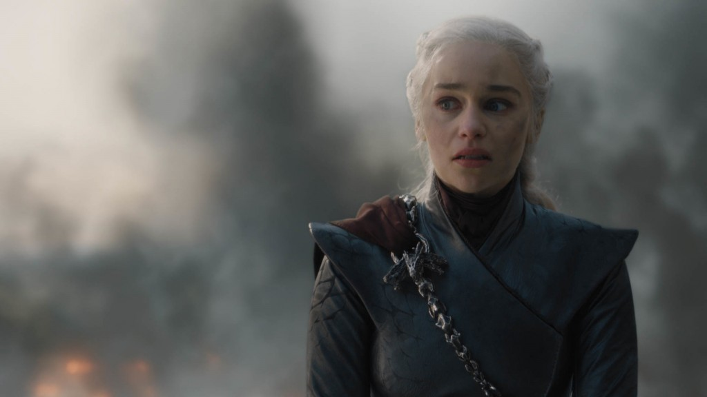 "This image released by HBO shows Emilia Clarke in a scene from ""Game of Thrones,"" that aired Sunday, May 12, 2019. Daenerys has reduced King's Landing"