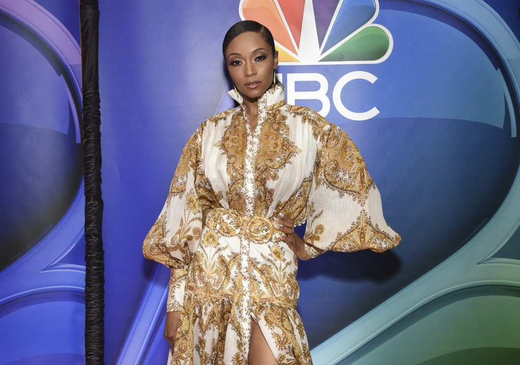 """Yaya DaCosta, from the cast of """"Chicago Med,"""" attends the NBC 2019/2020 Upfront at The Four Seasons New York on Monday, May 13, 2019. (Photo by Evan A..."""