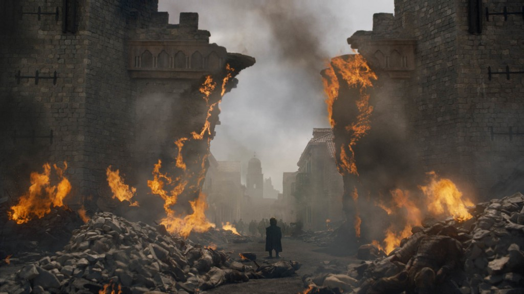 "This image released by HBO shows Peter Dinklage in a scene from ""Game of Thrones,"" that aired Sunday, May 12, 2019. Daenerys has reduced King's Landin"